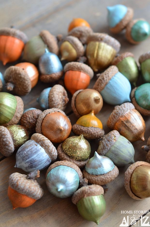 Painted Acorns - This is a family friendly project that uses material from your own back yard! Prep and paint acorns to really bring fall into your home. Fill them in a bowl or scatter them along your centerpiece for extra flair.Home Stories A to Z