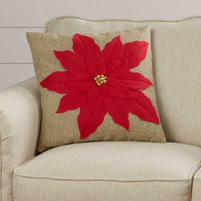 Savanah Throw Pillow - Liven up your living room or shams with this throw pillow with poinsettia embroidery.Wayfair