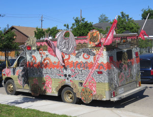 Example of art vehicles. Houston is the Art Car Capital!