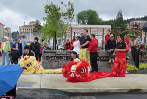 Dancers getting ready to do the Southern Lion Dance.