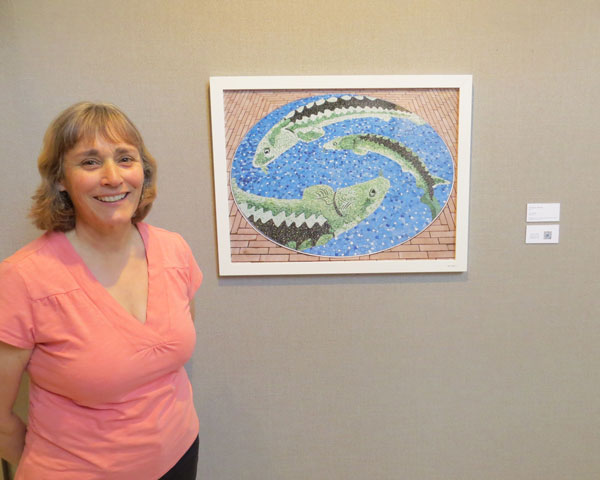 The Sturgeon mosaic displayed in the Mosaic Arts International exhibition.