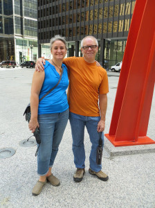 Karen and Scott downtown by a Calder sculpture. We had Monday free for a bit of exploring before heading to the airport.