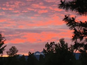 Sunset over Broken Top from our deck in Bend.