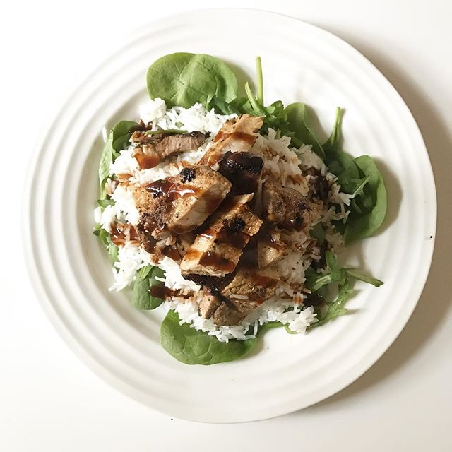 "How easy is too easy? Right now my brain can't handle anything that takes more than 10-15 mins {but no seriously look at my insta story today for my snack salad + my last post for quick meals}. . So I give you grilled pork chop over white rice + a big ol' bed of spinach. Drizzled with some Japanese sauce that I don't know the name of 🙄 . I've found when I overwhelm myself with cooking a lot - or rather just spending a lot of time cooking a meal I lose my mojo. So we take the weekends now to take a little more time with our meals because we do love cooking and experimenting - but during the week we're all ""what can we cook so we can get straight back to our modern family binge fest"""