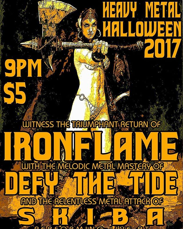 TWO DAYS AWAY!!! Defy the Tide last show of 2017!! Come one, come all!! We will see you SATURDAY, 10/28 at RIVER CITY in Wheeling, WV with our good friends in SKIBA and the mighty IRONFLAME!!! @stacyonthex  @cbentertainment1 #seeyourthere #heavymetal #warriors #comeonecomeall #ohiovalley #music #metal #defythetide #skiba #ironflame 🤘🏻🤘🏻