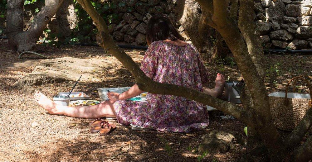 Naturstudien im schönen Garten der Finca