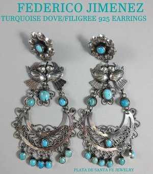 c614d0385 FEDERICO JIMENEZ Turquoise/Dove Oaxaca 925 Statement Size Filigree Earrings