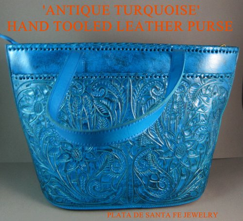 008806c8f Long Rope ANTIQUE TURQUOISE Hand Tooled Leather Mexican Western Style Purse.  IMG_1136.JPG. IMG_1134.JPG. IMG_1133.JPG