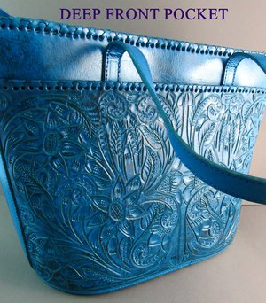8159b32b1 Long Rope ANTIQUE TURQUOISE Hand Tooled Leather Mexican Western Style Purse