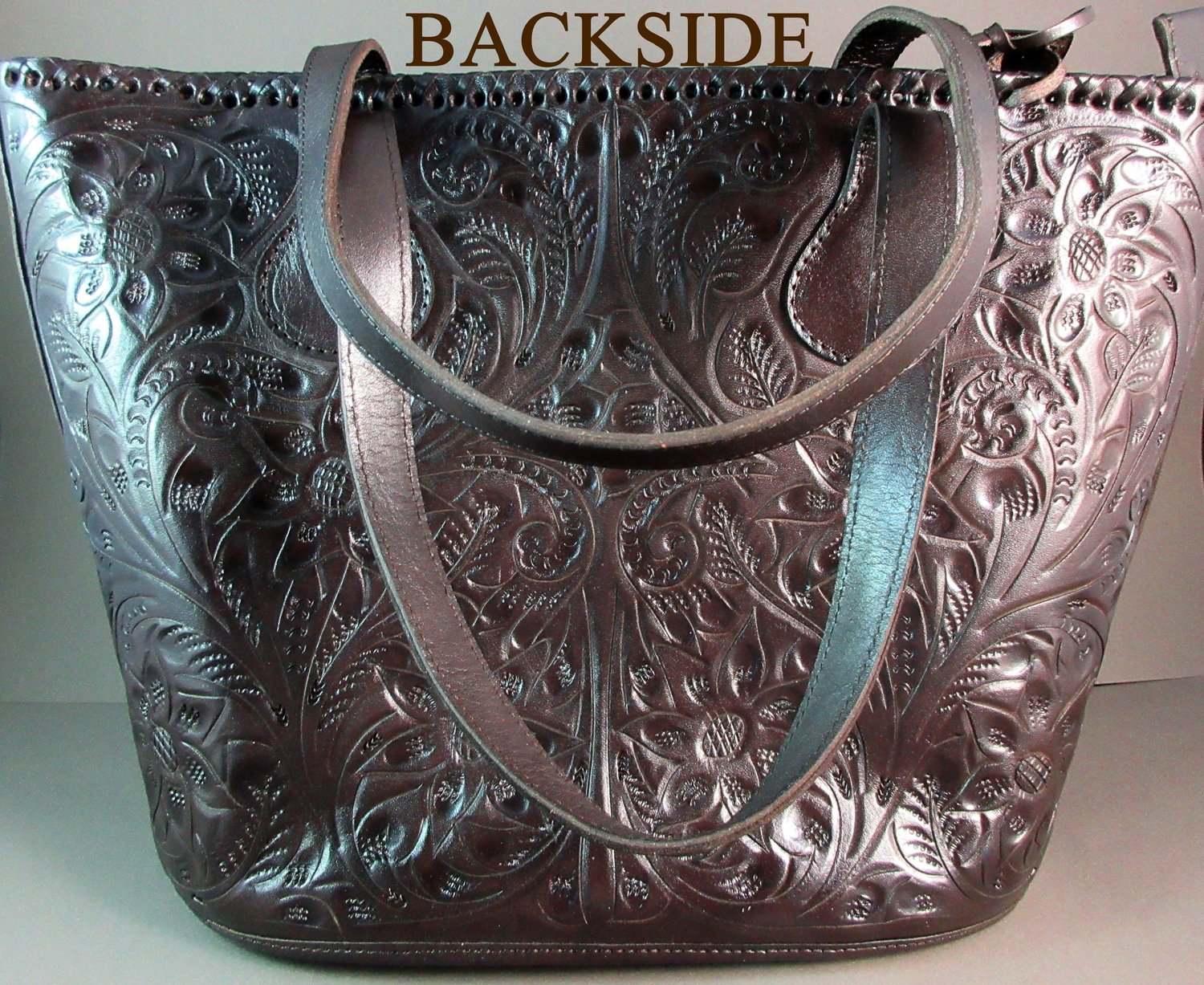 e42a87f6d Long Rope Dark Brown Hand Tooled Leather Mexican Western Style Purse