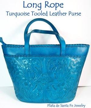 17be79b58 Long Rope Guadalajara TURQUOISE Hand Tooled Leather Mexican Western Style  Purse