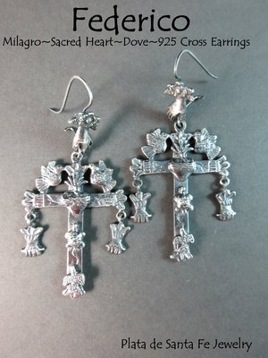 0c24ca9dc FEDERICO~ Oaxaca Yalalag Cross with Doves/ Sacred Heart/ Milagros ~925  Earrings