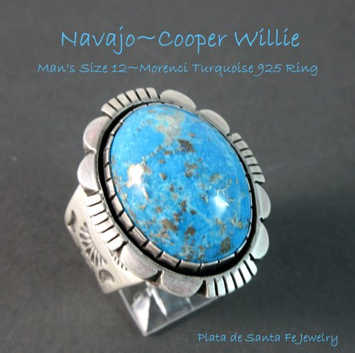 Navajo~ COOPER WILLIE ~High Domed~ Morenci Turquoise~ Traditional~ MAN's  925 Ring~ Size 12