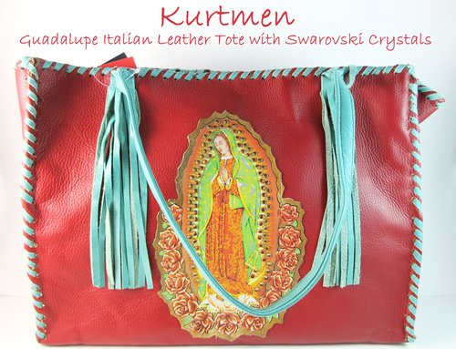 Guadalupe~ Swarovski Crystals~ Distressed Red/Turquoise Italian Leather  Western Tote
