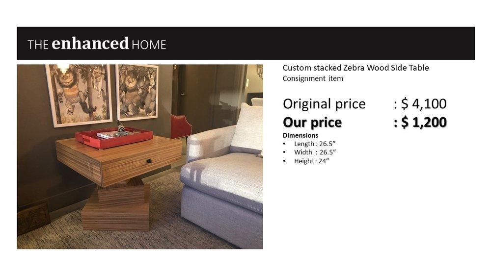 Custom stacked Zebra Wood Side Table .jpg