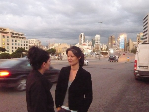 Conferring with our production manager Abla Khoury on Day 21 of the CIRCUMSTANCE shoot in Beirut, Lebanon.