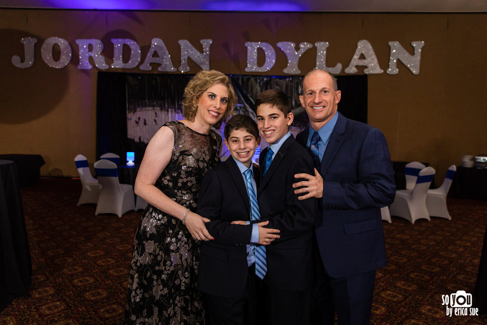 mitzvah reception room family portrait