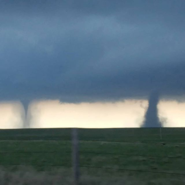 Twin tornadoes in northeast Colorado an hour ago