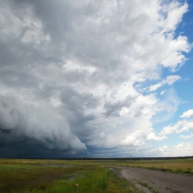 Outflow dominant HP supercell in eastern Wyoming right now