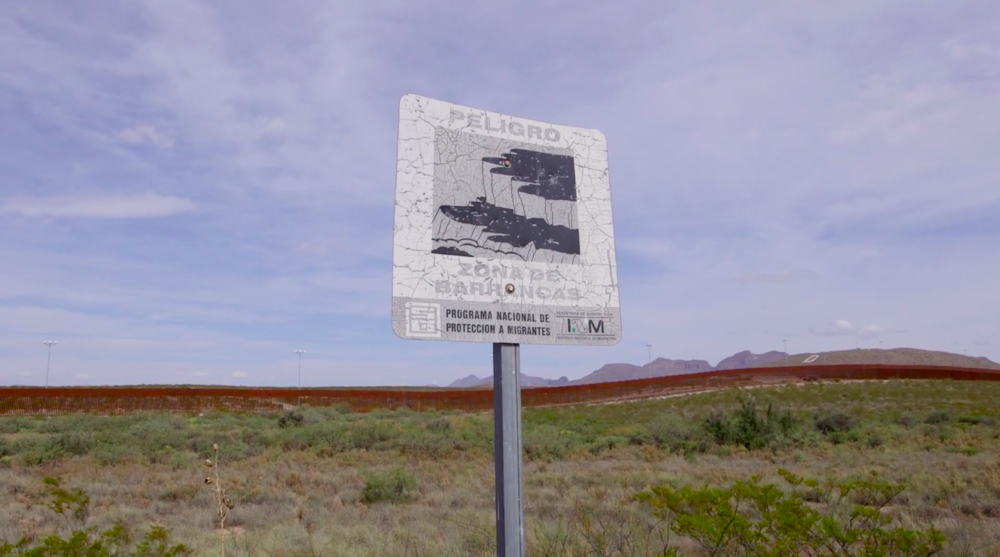 Postcommodity,  Repellent Fence  (still from video), 2015. Image courtesy of Postcommodity.
