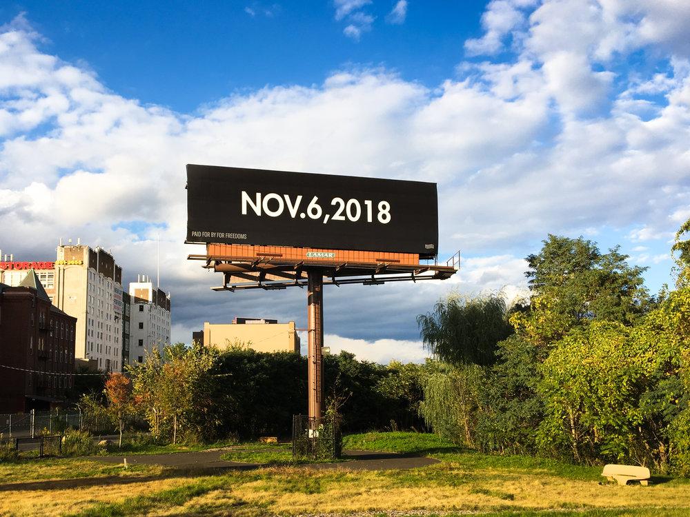 Trevor Paglen,  Nov 6  (billboard), Hartford, CT, 2018. Image courtesy Eric Gottesman and For Freedoms.
