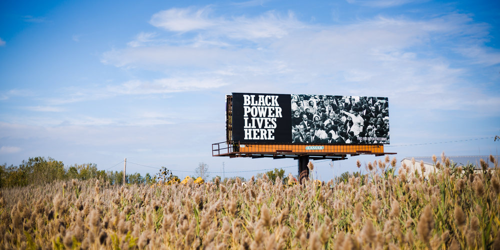 Theaster Gates,  Where Black Power Lives  (billboard), Gary, IN, 2018. Image courtesy Madeleine Thomas and For Freedoms.
