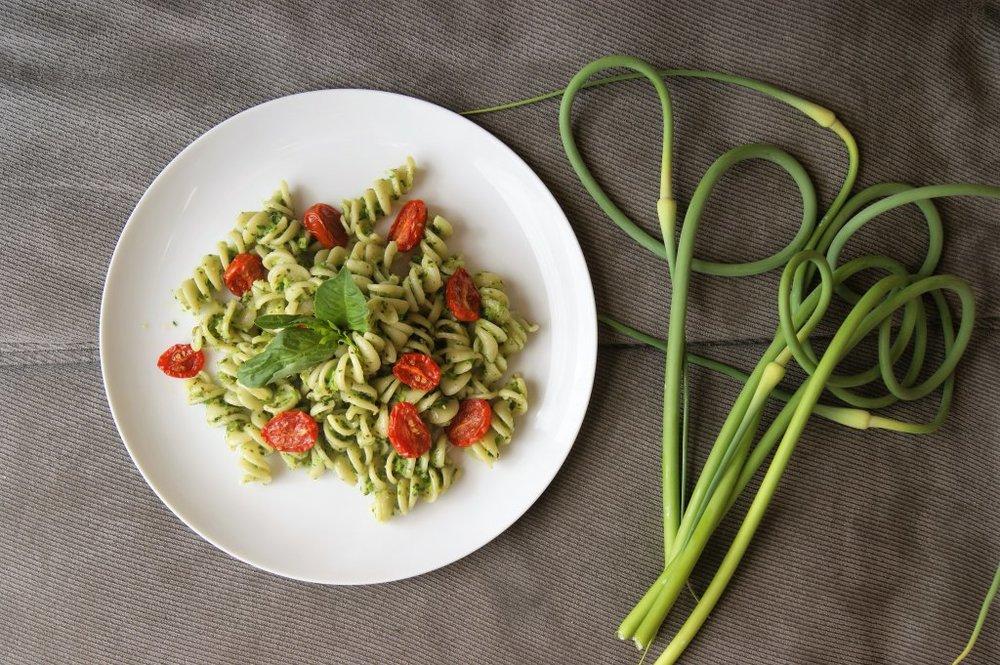 garlic-scape-pesto-pasta