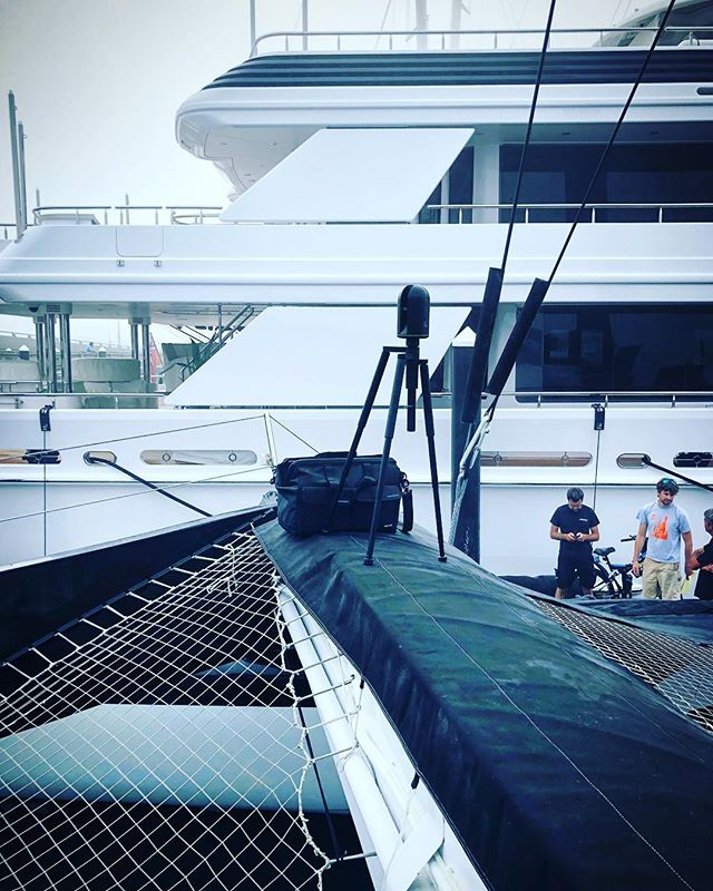 Our BLK360 in its usual spot ⛵️ @captureri_ #capturing Yachts in the Early Mornings' Fog @newportshipyard #blk360 #laserscanning #newportri #newportshipyard #trimaran