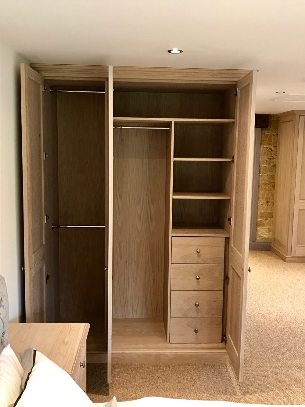 Limed Oak Wardrobe open