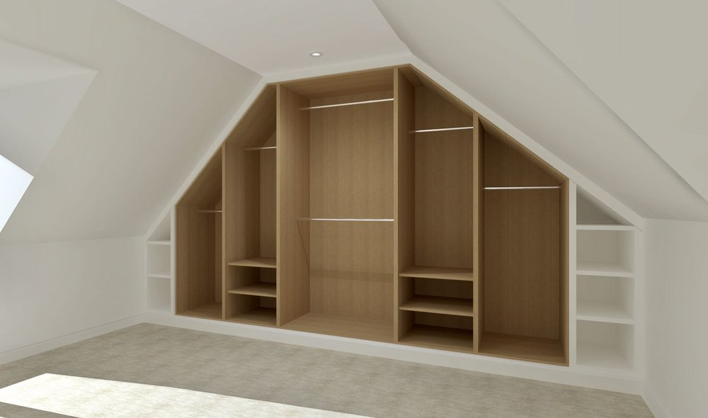 Attic fitted wardrobe CAD