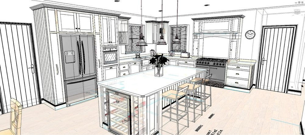 Wire frame shaker kitchen CAD