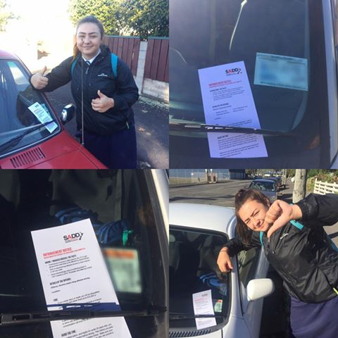 Tararua College<br><small> Putting infringement notices on cars</small>