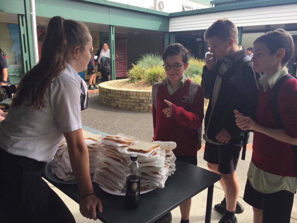 Students had to think up 2 road safety facts in order to get a sausage at the sausage sizzle!