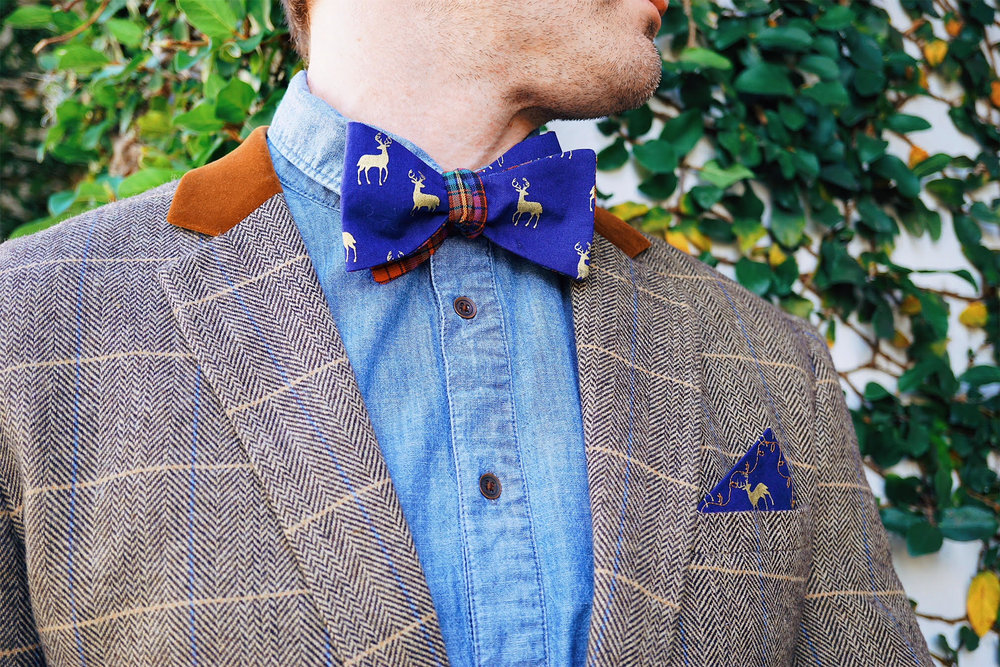 How to style a bow tie with a pocket square?
