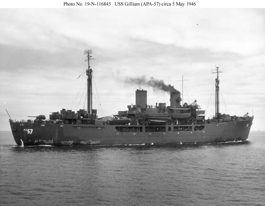 South Pacific, USS Gilliam, WWII