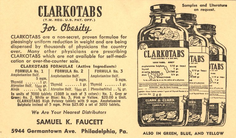 Clarkotabs: one of the first combination diet pill formulations. Source: http://ihm2.nlm.nih.gov/