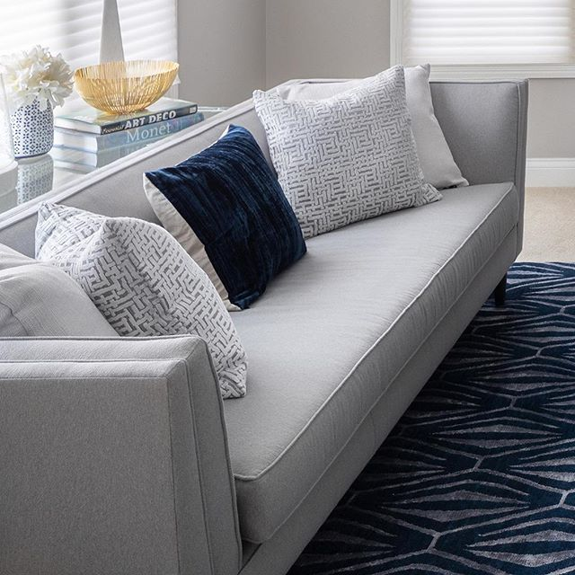 📷 Series: 3 of 6 // A Living Room design perfectly layered with patterns of Navy, Grey, White + hints of Gold . . . . . . . . .  Project: Interior Design Client: Seers House 📷: Miller+Miller Architectural Photography