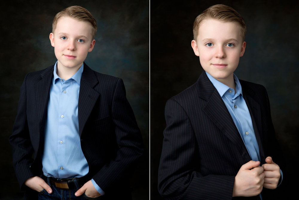 Handsome young actor posing for his headshots in Northport Studio