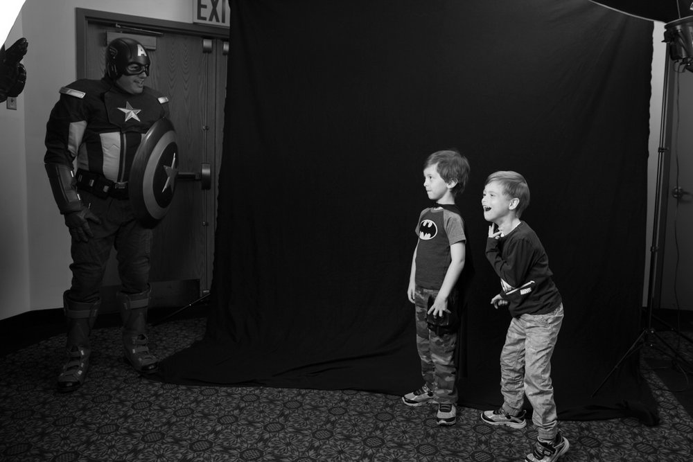 Captain America surprises two brothers during Family Fun day photo shoot