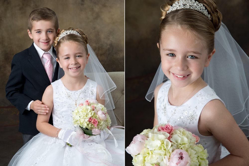 Brother joining his siter for her Holy Communion portrait in the studio