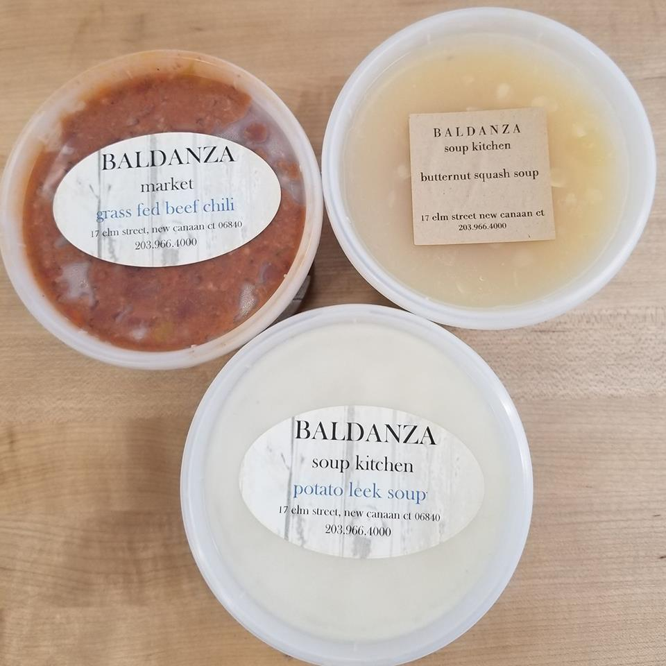 We have Baldanza soups and chilis available in our chiller. Grab and go!