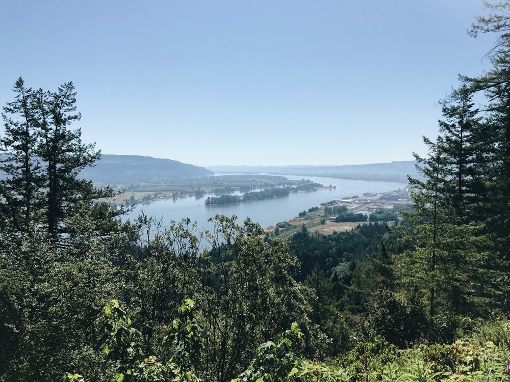 A scenic view of Puget Island from Oregon after climbing the hill from sea level.