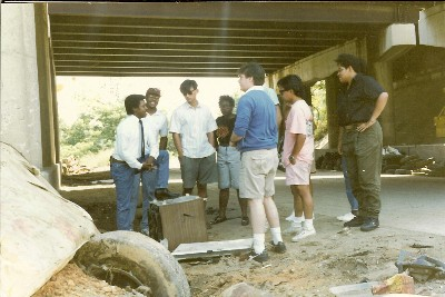 With college interns after a creek walk on the bank of Lower Beaverdam Creek, a tributary to the Anacostia River in Washington, DC