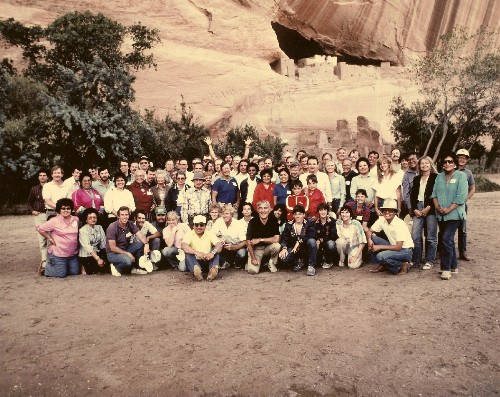 Canyon DeShelly at the White House Ruins on the Navajo Reservation in Arizona.  Norris McDonald in the middle with Robert Redford kneeling to his right. Navajo Chairman Peterson Zah is at Redford's right (1984).  Joe Browder is next to McDonald