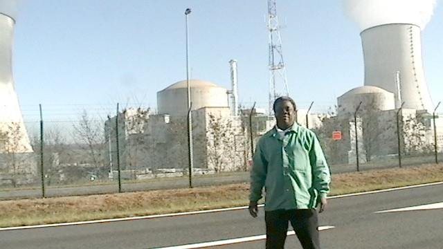 Norris McDonald at Civaux nuclear power plant between the two reactors and cooling towers