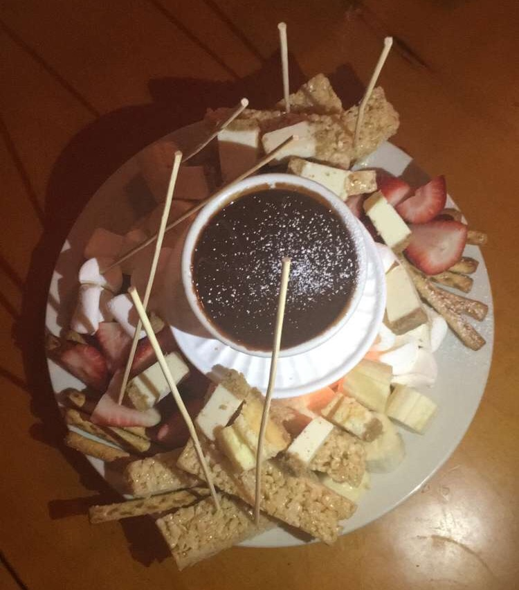 Milk chocolate fondue from The Vintage in Eugene, OR.