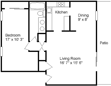 The Adams One Bedroom  One Bathroom 814 Sq. Ft.