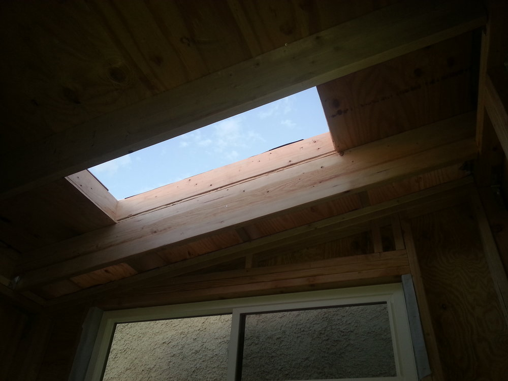 Remember, building a tiny house requires you to do totally awesome things. Go ham and make it extravagant! Why? Because why not?! Skylight above where the bed will be, for those wildly romantic nights with your significant other. Or in my case, my lazy non contributing black dogs.