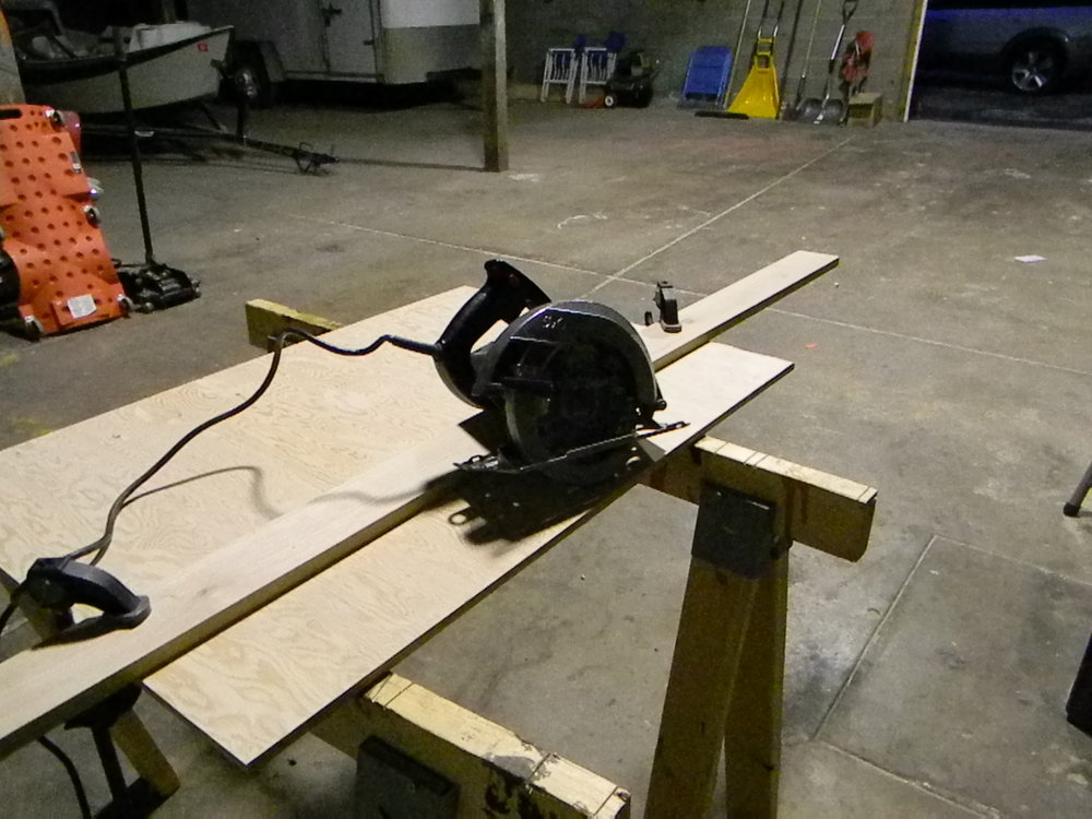 Since I didn't have a panel saw, I simply bought a nice straight 3.5 inch 8 foot long piece of hickory and used clamps to make a fence. Set up may take a few extra minutes but it leaves you with a crazy straight cut. I'm all about the cuts that make you wanna write home to mama. You'll thank yourself in the end, not only will it look nicer but it will make the trim work so much easier.