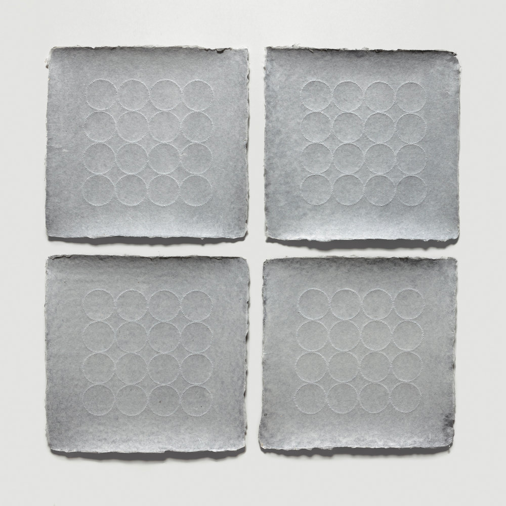 Grid Relief Quadriptych  Pinpricks on handmade paper - unframed 19 x 19 inches 48.26 x 48.26 cm 2018